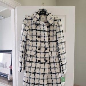 Kate Spade ivory and black wool coat